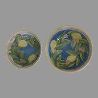 Vintage Stark Two (2) x Graduated Nesting Pottery Bowls Lemons Signed Dated