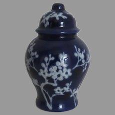 Vintage Miniature Blue Prunus Chinese Vase Jar