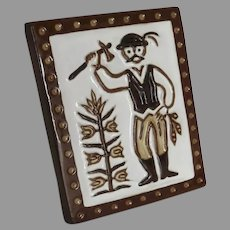 Vintage Traditional Hungarian Folk Art Wall Plaque Signed Farmer Country