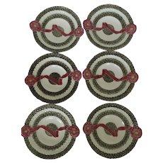 Set of 6 Wedgwood Late 19th Century Basketweave Ribbon Majolica Plates