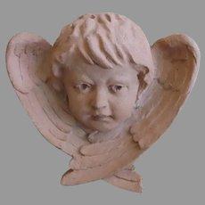 Large Vintage Terra Cotta Terracotta Garden Wall Plaque Angel Wings