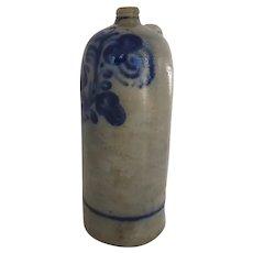 Vintage Older Blue Tall Jug Crock Salt Glazed