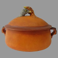 Vintage French Pillivuyt Lidded Casserole Two Chickens  Pheasants