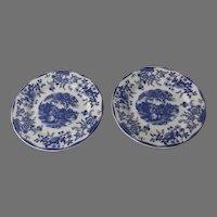 Quadrifoglio Blue & White Plates Italy Castle French Scene