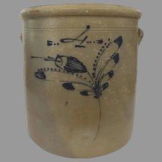 19Th Century Stoneware Crock Blue Cobalt Decoration