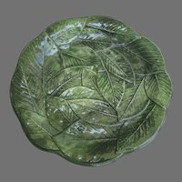 """Vintage Italian Green Leaf Majolica Pottery Plate 8"""" Made in Italy"""