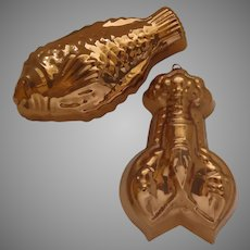 Two Vintage Copper Food Molds Lobster Fish Made in Portugal