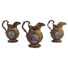 Set of Three Luster Pitchers Chinoiserie Clock Pocket Watch