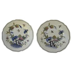 Pair of French Sarraguemines Faience Fine Dinner Plates Birds Insects Chinois Landscape