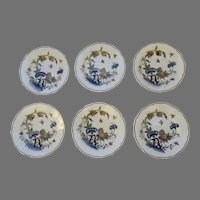 Seven (7) French Sarraguemines Faience Fine Shallow Bowls Plates Birds Insects Chinois Landscape