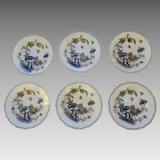 Six (6)French Sarraguemines Faience Fine Shallow Bowls Plates Birds Insects Chinois Landscape