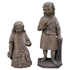 Pair of Stone Carvings of Boy and Girl Garden Ornaments