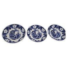 19th Century English Earthenware Tea Bowls Hilditch & Son Staffordshire Set of 3