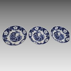 19th Century English Earthenware Tea Bowls Hilditch & Son Staffordshire Set of 3
