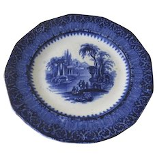 "19th Century English Blue and White Transferware Plate ""Templer"" Architectural Ruins"