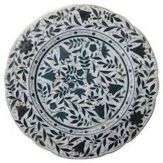 Austrian Porcelain Plates Flowers & Birds Polychrome and Gilt Shaped Edge (Pair)