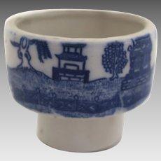 Vintage English Blue Willow Ink Pot