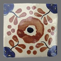 "Vintage Mexican Glazed Tile Floral 4"" by 4"""