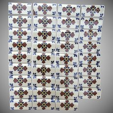 37 x Vintage Group Bullnose Mexican Tiles Cross