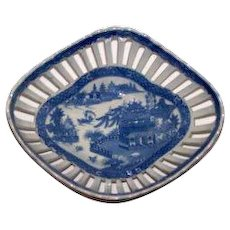English Blue and White 18th Pearlware Century Reticulated Bowl Basket