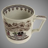 English Transfer Ware Large Mug Steam Engine Train Carriage Church Coat