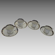 18th Century English Cups & Saucers by Bow Set of 4