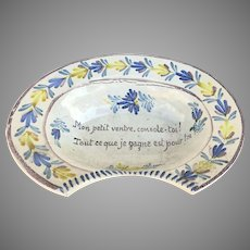 French Faience Pottery Barber Bowl 19th C.