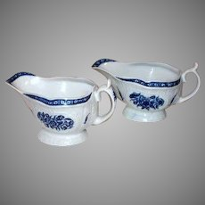 Pair of Rare Blue and White English Worcester Sauce Boats Tulip Motif
