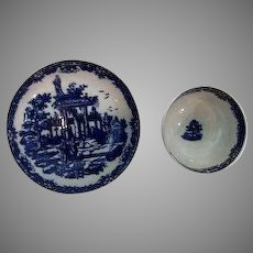 Worcester First Period Blue and White Cup Saucer Tea Bowl