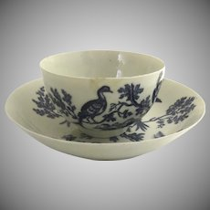Worcester Blue and White Birds Tea Bowl Cup Saucer English c 1780