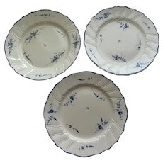 Three Creamware Plates made by Pierre-Joseph Boch's Pottery Factory at Septfontaines c 1787-1800 Luxembourg