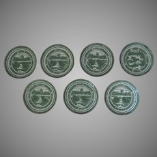 Set of 7  Nanking Chinese Export Plates Green