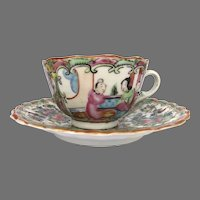 19th Century Chinese Export Cup and Saucer  Gilt Highlights