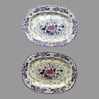 """Two Pair Porcelain by Grainger's Worcester, England 1814-1839 Platters 13"""" by 10"""" As Is"""