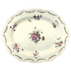 Chinese Export Platter with Beautiful Floral Sprays Shaped Edge