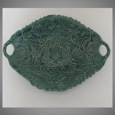 Majolica Leaf Shaped Serving Plate with Two Handles