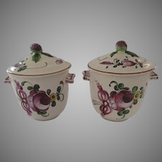 2 x Vintage French Pot de Creme Faience Pots with Lids Fruit Finials