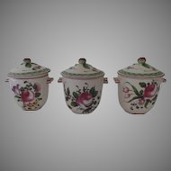 3 x Vintage French Faience France Pot de Creme Pots Fruit Finials
