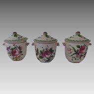 3 x Vintage French Faience France Pot de Creme Pots Fruit Finials