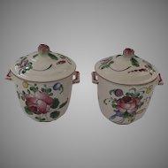 2 x Vintage French Faience France Pot de Creme Pots Fruit Finials