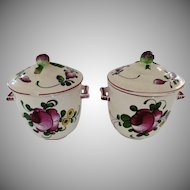 2 x Vintage French Pot de Creme Faience Pots with Lids Fruit Finials
