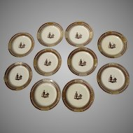 Set of 13 Plates Etruscan Vases by Bates Walker c 1870