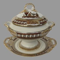 Large Covered Soup Tureen and Under Plate Etruscan Vases by Bates Walker c 1870