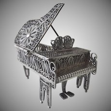 Vintage Sterling Silver Filigree Miniature Grand Piano