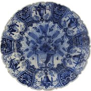 Large Delft 18th Century Peacock Blue and White Charger Plate