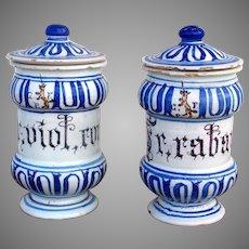 19th Century Pair of Italian Faience Apothecary Jars