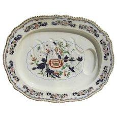 "Large Monumental English Stoneware Platter with Gravy Reserve Imari Color Gilt Edge Grainger, Lee & Co Worcester 25"" by 20"""