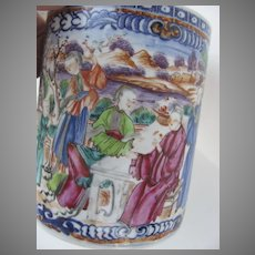 Large Chinese Export Chinoiserie Medallion Can Mug
