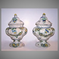 Pair of Italian Cover Footed Faience Compotes