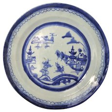 Chinese Canton Plate 19th Century Blue and White